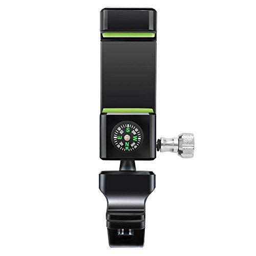 AOLVO Bike Motorradhalter, 360Drehbar Fahrrad Handy Halterung mit Kompass & LED-Licht Schwarz/Grün