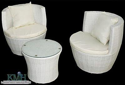 KMH®, 3-teilige Gartensitzgruppe (inklusive Sesselauflage und Kissen) (#106074)