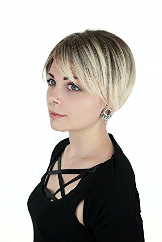 Scopri offerta per prettyland parrucca capelli corti lisci biondo chiaro taglio pixie scalato effetto ombré sfumature per tutti i giorni C1352