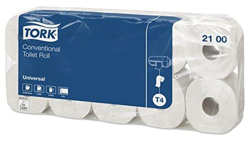 Tork 2100 weiches Kleinrollen Toilettenpapier in Universal Qualität für Tork T4 Kleinrollensysteme / WC-Papier 2-lagig / reißfest, 6 x 10er Pack (10 x 250 Blatt)