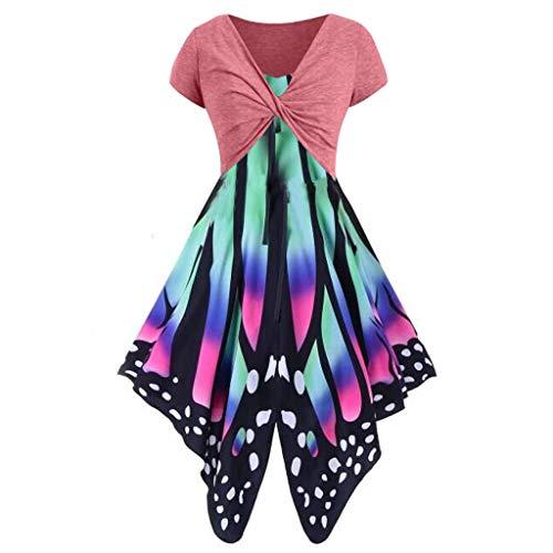 VJGOAL Damen Kleid, Damen Mode Schmetterling Drucken Ärmelloses Party Vintage Schaukel Spitze Sommer Kleid Geschenke (M, Anzug-Wassermelonenrot)