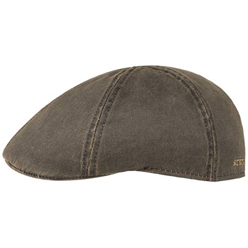 Stetson Flatcap Level Herren | Schirmmütze mit Baumwolle | Herrenmütze mit UV-Schutz 40+ | Mütze im Vintage-Look | Schiebermütze Sommer/Winter | Flat Cap braun M (56-57 cm)