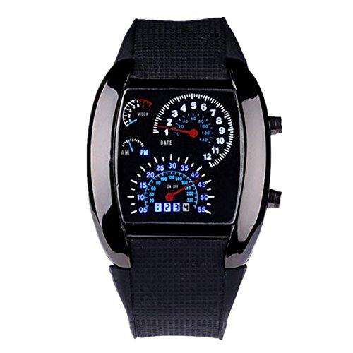 Belles montres, Mens bleu voiture de sport rpm&blanc conduit montre-bracelet de vitesse ( Couleur : Noir )