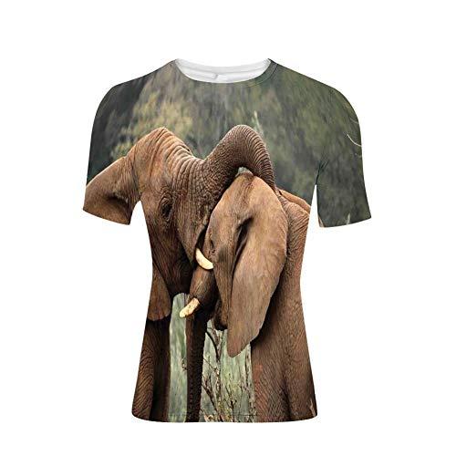 Soefipok Camisetas Tops, Elefantes Que luchan Iconos Lindos de la Naturaleza del...