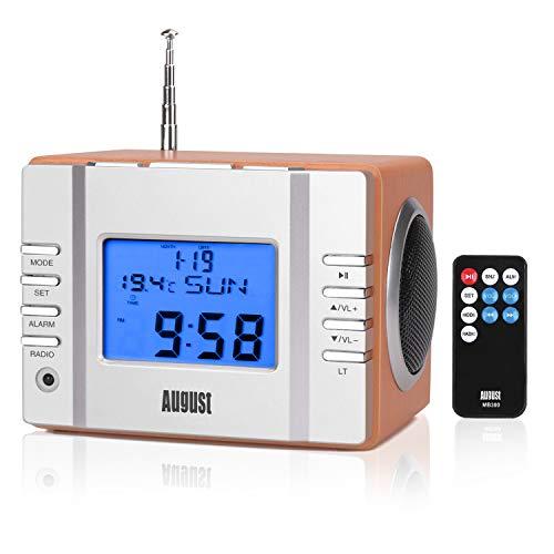 August MB300 - Radio FM MP3 y alarma despertador, reproductor MP3 con lector de tarjetas SD, USB y conexión...