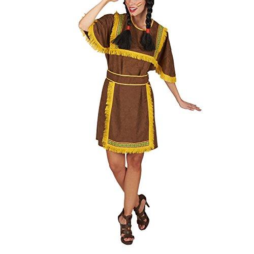 Sioux Indianerin Kostüm Damen 2tlg. Kleid mit Schürze Kostüm Klassiker zum Karneval braun - (Kostüm Indianer Frau)