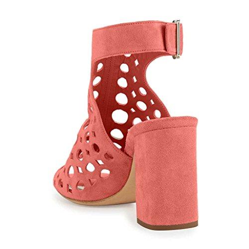 NANCY JAYJII - Femmes - Stiletto - Cuir véritable - Bride de cheville - Gris ou Orange ou Rose - Talon bloc - Bout rond ouvert Rose