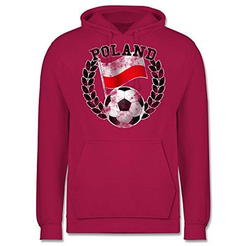 EM 2016 - Frankreich - Poland Flagge & Fußball Vintage - Männer Premium Kapuzenpullover / Hoodie Fuchsia