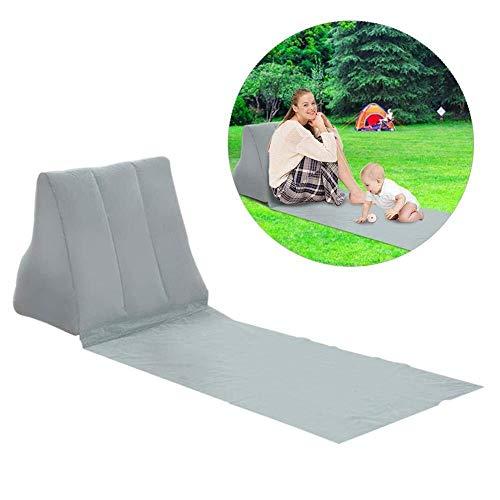 Picknickdecke Tragbare Strandmatte Aufblasbare Sonnenliege Strandbett Klappgartenbett Dreieck Sonnenmatte Rückenkissen Kissen Stuhl for Picknick Camping (Color : Grau)