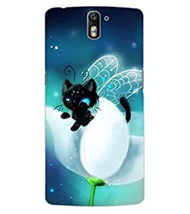 ColourCraft Cute Angel's Cat Design Back Case Cover for OnePlus One