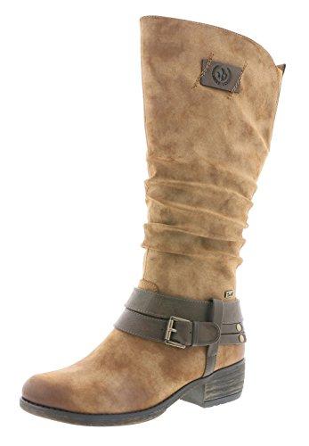 Rieker Damen Klassische Stiefel 93158,Frauen Boots,Langschaftstiefel,Blockabsatz 4cm,REH/Nubia, EU 39