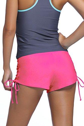 Damen Badehose Badeshorts Panty Shorts Kurze Hose Unterteil Kurz Uni Pink  ...