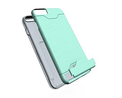 EKINHUI Case Cover Für Apple IPhone 6 & 6s Plus Stoßfänger, gebürstet Metall Finish Shockproof Schock Absorbtion Schutzhülle Premium Soft Fexible TPU Silikon Abdeckung mit Halter & Card Slot ( Color : Green