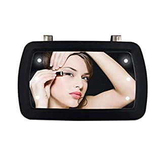 DSAEFG LED Illuminated Makeup Mirror ,Touch Screen Cosmetic Mirror Removable for Car Truck SUV Rear View Mirror (No AA Batteries Included)