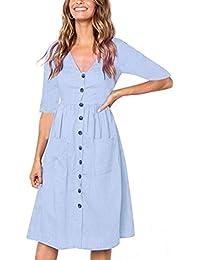 Gusspower Vestidos Mujer Verano 2018,Mujer Vestido Largo Bohemio Dama Playa Verano botón Abajo Vestido
