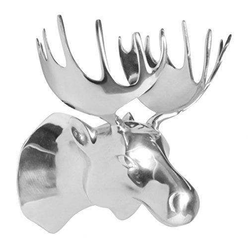 Möbel Fan (Metall Wand-Dekoration Elchkopf silber 34 x 26 x 26 cm   Design Metall-Deko Wand Wohnzimmer   Exklusive Wandskulptur   Geschenk für nordische Fans)