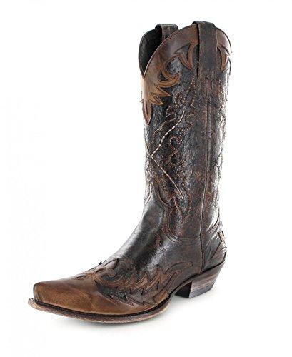 Sendra Boots 9669 Tang Marron Quercia Lederstiefel für Damen und Herren Braun Westernstiefel, Groesse:46