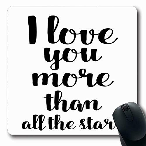 Mousepads Zitat-Skript-Liebhaber für Valentinstag-Abwehr-Datum Ich Retro liebe dich mehr als alle Sterne Abstrakte schwarze längliche Form-rutschfeste Spiel-Mausunterlage Gummi-längliche Matte,Gummima