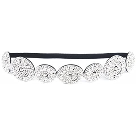 Thick Patterned Shimmering Bling Bridal Rhinestone Elastic Headbands (Style E) by Sizzle City