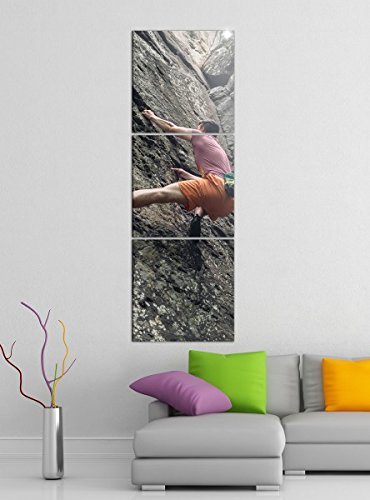 Leinwandbild 3tlg Freeclimbing Felsen Klettern Extrem Bilder Druck auf Leinwand Vertikal Bild Kunstdruck mehrteilig Holz 9YA4032, Vertikal Größe:Gesamt 40x120cm