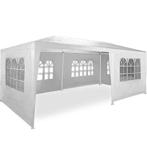 maxx® gazebo da giardino, 3 x 6 m, con 6 pareti laterali, 4 con finestre e 2 chiuse, giunzioni plastiche, impermeabile, con picchetti e corde di tensione, bianco