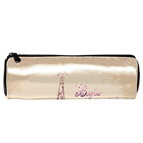 EZIOLY Bonjour Federmäppchen/Federmäppchen aus Leder, Motiv: Paris Tower Eiffel und Fahrrad, für Schule, Arbeit, Büro
