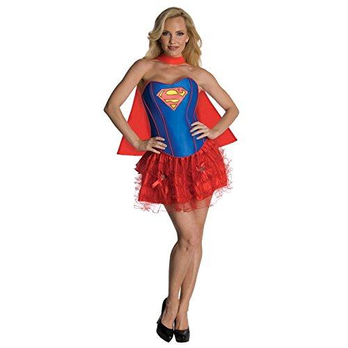Damen 3 Stück Reizvolle/Sexy Superwoman Kostüm Einegröße 36-40 (Superwoman Kostüm Für Erwachsene)