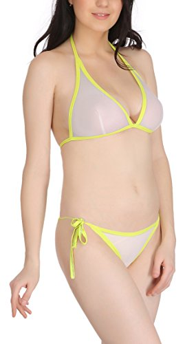 FIMS® Women's Net Sexy Bridal Honeymoon Bra Panty Bikini/Lingerie Set_Pack of 1-Light Green-Size_30  available at amazon for Rs.125
