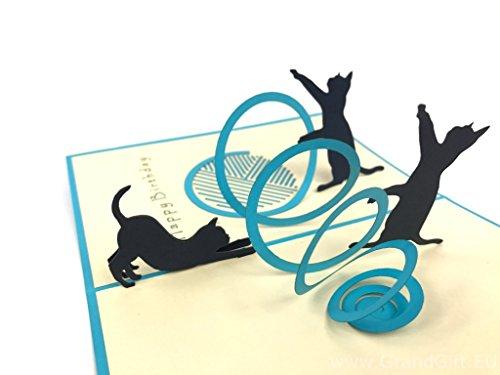 Katzen spielen, Geburtstagskarte Pop Up Grußkarte Mercedes-Benz Auto Jahrestag Baby Happy Geburtstag Ostern Mutter Thank You Valentine 's Day Hochzeit Kirigami Papier Craft Postkarten (Day-karte-autos Valentines)