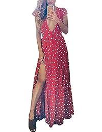 0b203aa0422a Minetom Donne Estate Chiffon Vestito Sexy Elegant Casual Collo Profondo Ve  Manica Corta Hem Diviso Lungo