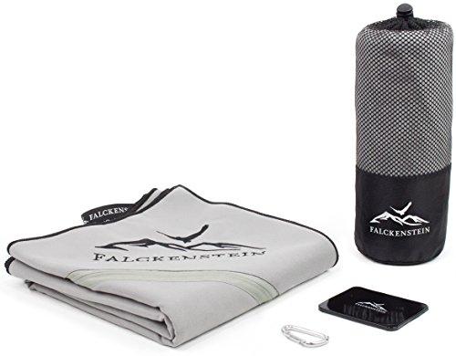 Premium Mikrofaser Reise-Handtuch (80x160) incl. Karabiner & Tasche + GRATIS Fixate Gel Pads • mit unsichtbarer Reisverschluss-Eck-Tasche von FALCKENSTEIN • ideal für Fitness-Studio, Sauna-Tuch, Microfaser Badetuch, Strand-Handtuch, See, Trekking, Outdoor & Reisen • (Grau, 80x160 cm)