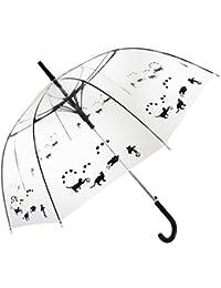 Bloom of London Parapluie Cloche - Design Anglais Ouverture automatique Chats Paraguas clásico, 75 cm, 100 Liters, Transparente (Noir et…
