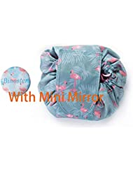 Large Capacity Lazy Makeup Toiletry Bag Drawstring Portable Travel Casual Waterproof Quick Pack Magic Makeup Storage Bag Perfect for Women Girls (Flamingo)