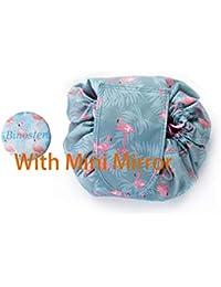 Large Capacity Lazy Makeup Toiletry Bag Drawstring Portable Travel Casual Waterproof Quick Pack Magic Makeup Storage Bag Perfect for Women Girls (Flamingo)