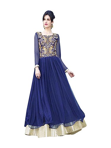Gowns (Whatshop Navy Blue Designer Embroidered Long Gown)