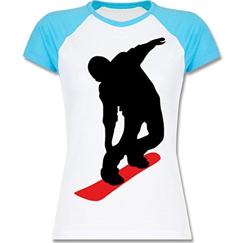 Wintersport - Snowboard Brettl - zweifarbiges Baseballshirt / Raglan T-Shirt für Damen Weiß/Türkis
