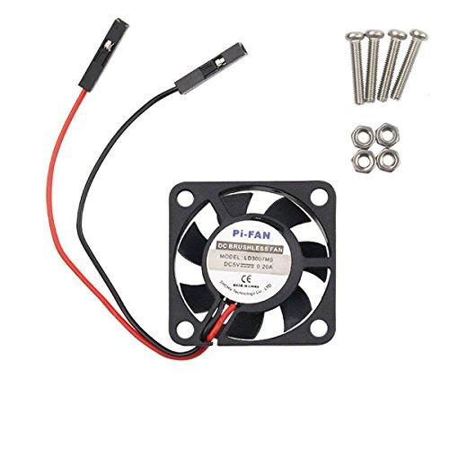 WINGONEER DC 5V Brushless CPU Cooling Fan avec vis pour Raspberry Pi 3 / Pi 2 Modèle B RPI B +