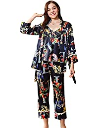 65459fd18 Conjunto De Pijama Mujer Primavera Otoño Satín Pijamas Mujer Silk Tapas del  Tanque Pants Cardigan Vintage 3 Piezas Elegante Moda…
