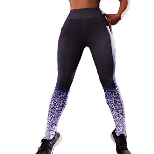 AIni Yogahosen für Damen,Beiläufiges 2019 Digital gedruckte Jacquard-Hüft- und Taillen-Fitness-Yogahosen Yoga Leggings Fitness Sport Hosen Trainingshose (XL,Lila) - Jacken Metallic Jacquard Jacke