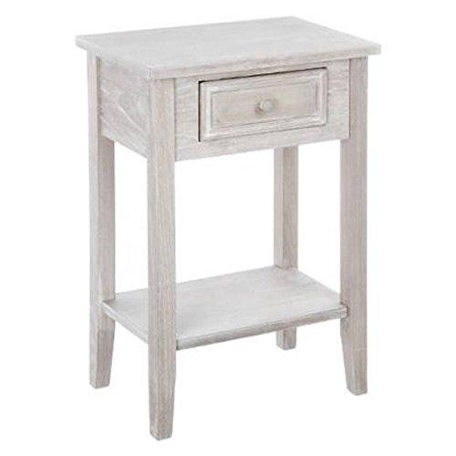 Mesilla de noche - Mesa de un cajón - Color Madera con toques Blancos