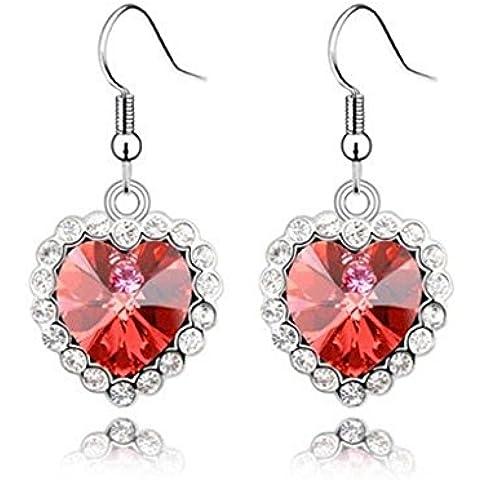 AieniD Pendientes de Mujer Corazón Cristal Aretes