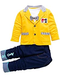 Si Noir by Hopscotch Baby Boys Polycotton Solid Blazer Attached Bow with T-Shirt and Pant Set in Yellow Color