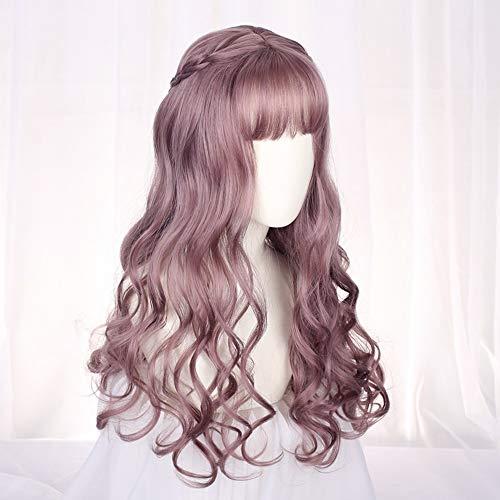 GWM Europa Und Amerika Lolita Gefälschte Haare Langes Lockiges Haarnetz Rot Dünne Rattan Dunkel Zwei Yuan Cos Gothic Welle Volumen Perücke (Farbe : A)