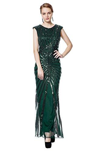 Flapper Kostüm Dames Damen Wie Uns - Metme 1920s Kleid Damen Maxi Lang Vintage Abendkleid Gatsby Party 20er Jahre Flapper Kleid Damen Kostüm Kleid, Grün, XS, EU36