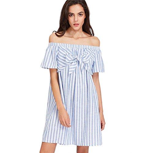 KanLin Damen Frauen aus Schulter Kleid Slash Neck Gestreift Kleid Hellblau