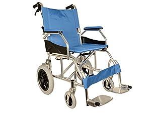 GIMA Aluminium Queen wheelchair, light blue seat 46 cm, ultra light wheelchair, only 9,5 kg