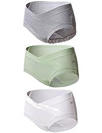 Sous-vêtements Maternité, KUCI®Femmes Enceintes Briefs Coton à Taille Basse en U Maternité Knickers 3Pack