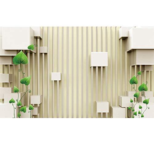 Wandbild Fototapete 3D Stereoscopic Stripe Space Green Vine Photo Wallpaper Modern Simple Living Room Tv Backdrop Wall Mural Home Decor300X210Cm -