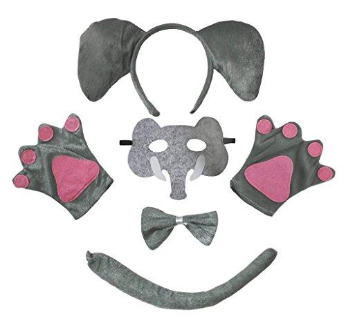Petitebelle Elefante máscara de la venda Guantes de cola Bowtie Disfraz de 5 piezas para niño Niños Talla Gris