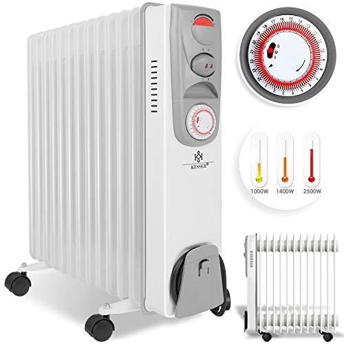 KESSER® Ölradiator - Elektrische Heizung mit 13 Rippen 2500W Öl Radiator Elektroheizung Mobil Timer Lüfter Abschaltautomatik stufenlose Temperaturregelung Überhitzungsschutz -
